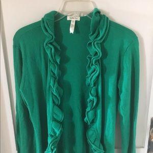 Green ruffled cardigan